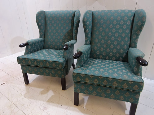 Parker knoll vintage wing back chairs, stunning pair, restored and reupholstered, design, shape and texture of fabric