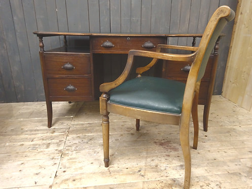 Victorian Oak Desk with Leather Top