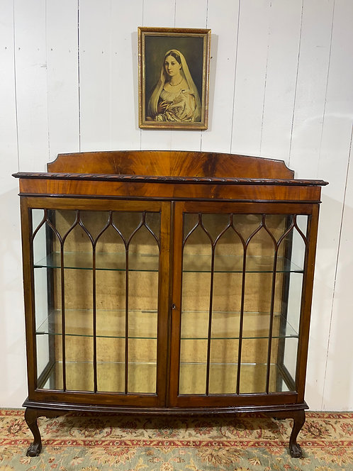 Victorian bow fronted display cabinet in walnut, silk embossed, mirrors and glass, walnut, display case, claw feet, hand made