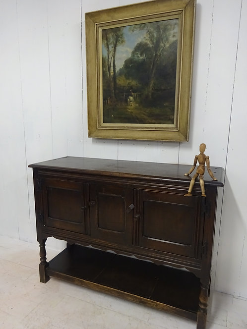 Victorian oak console table with storage underneath for shoes and cupboard space, varnished, handmade,