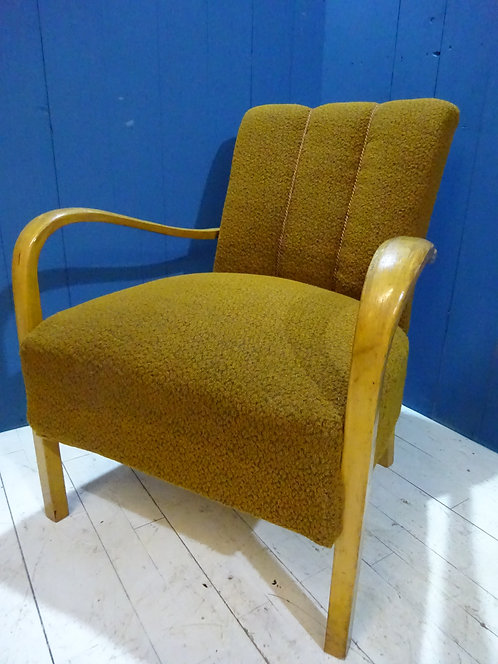 vintage armchair in green fabric, retro chair, office chair, desk chair, work from home chair, reading chair, beech frame,