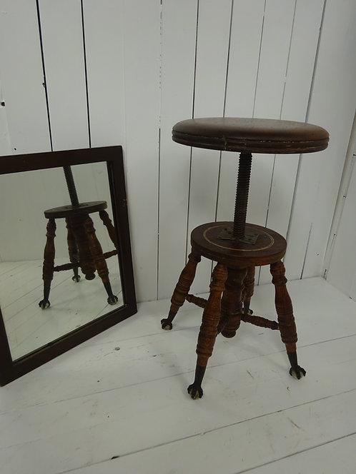 Victorian wooden stool with glass feet, adjustable stool, antique stool, oak stool with glass feet, claw feet, rare stool,