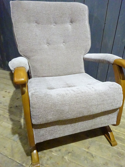 Stunning retro rocking chair, solid beech with spring rocking mechanism in beige organic cotton and silk chenille