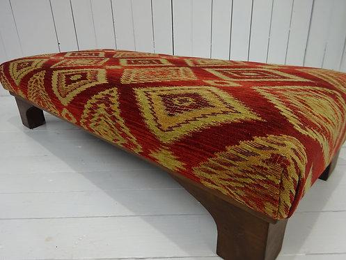 art deco, retro design, vintage design, red chenille fabric, silk fabric, cotton, oak frame, designer footstool, fabulous