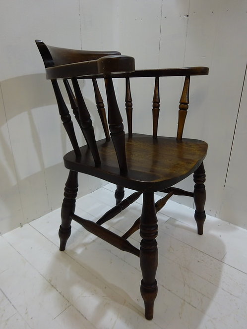 Victorian captain's chair in oak, elm and beech, patina lovely wood grain, office chairs, new stock, follow us on Instagram,