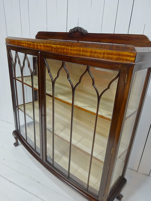 Victorian Bow Fronted Display Case in Walnut