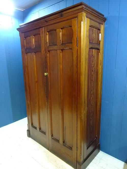 Victorian pitch pine larder, cupboard, linen press, gothic, pine, wardrobe, handmade, antique, brass handles,