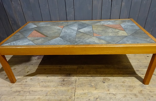 Danish mid-century coffee table by Gangso Mobler with solid teak frame and brutalist tile design in slate grey, pink and gold