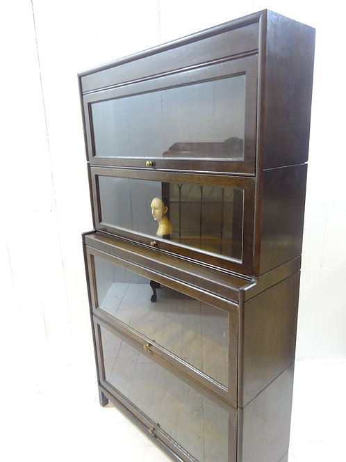 oak glass fronted antique sectional graduated bookcase, books, storage, gunn bookcase, handmade, patina, brown varnish, oak