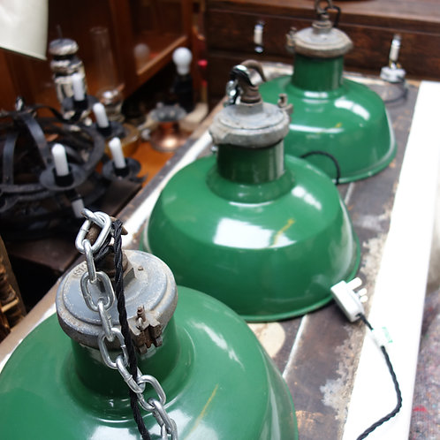 lighting, factory lights, enamel lights, enamel shades, enamel, rewired, green enamel, green and white shade, chain, bulbs,