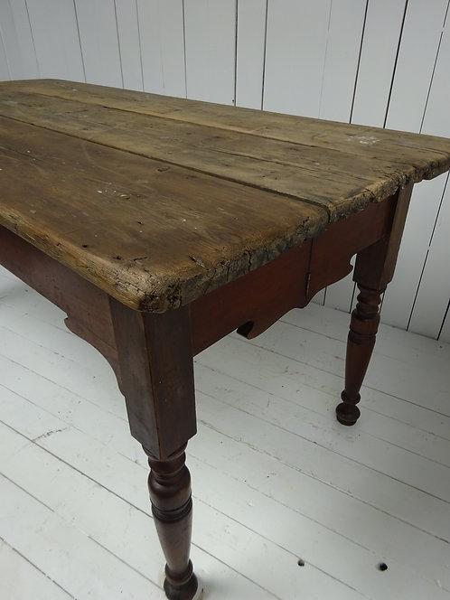 Edwardian pine top kitchen table, three plank table top, mahogany legs, kitchen table, antique table,
