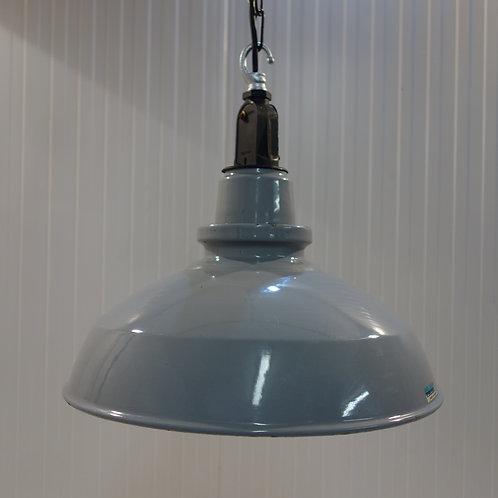 Grey, enamel, light shade, industrial, factory, 1950s, English,rewired, on trend, interior design, vintage shop