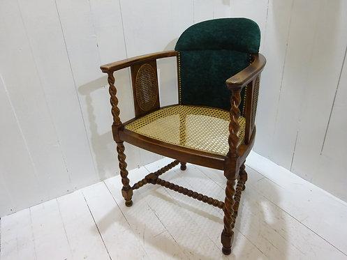 cane seat pad, art deco chair, velvet seat back support, unique chairs, interior designer chairs, oak, bobbin, barley twist,