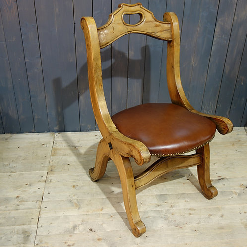 hand carved, hand made, leather, chair, hall chair, vintage chair, scroll, stud work, brown leather, hall chair, Spain, brown