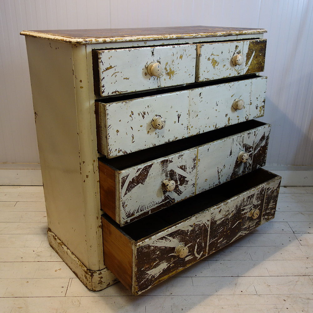 painted, worldwide shipping, shipping to europe, pine, pine drawers, kitchen unit,patina, distressed, original paint, artist, sculpture, room decor, interior design, interior designer, solid wood, white paint, brown paint, original varnish, furniture, antiques and home, ideal home