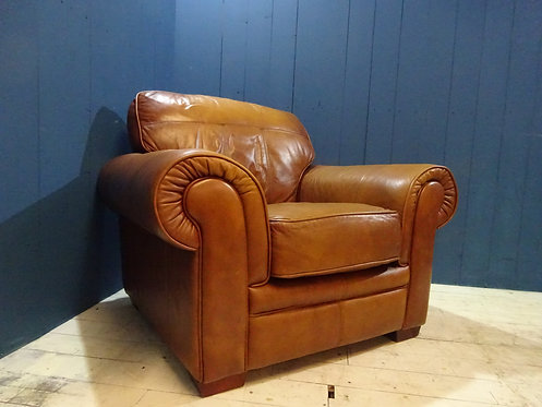tan leather, tan leather armchair, leather reception chair, distressed worn leather vintage chair, retro chair, tan leather,