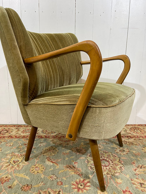 1960's cocktail chair with shaped arms and sculptured back, green fabric, tapered legs, vintage, mid century chairs, interior