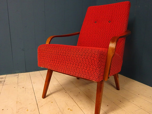 red, red chair, vintage chair, red fabric, cocktails, cocktail chair, bentwood, shape, designer, 1950's. rare items, texture,