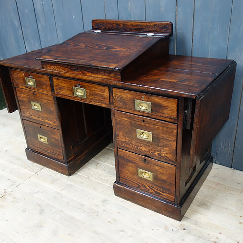 school, oak, brown, patina, rare item, office desk, interior designer, wood grain, campaign desk, brass fittings, desk, chair