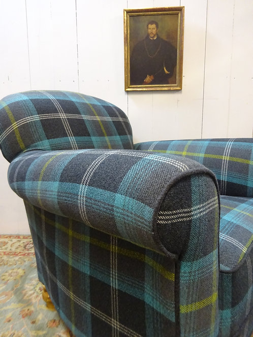 art deco club chairs, restored and reupholstered in a wool tartan fabric, art deco, check print, interiors and home, antiques