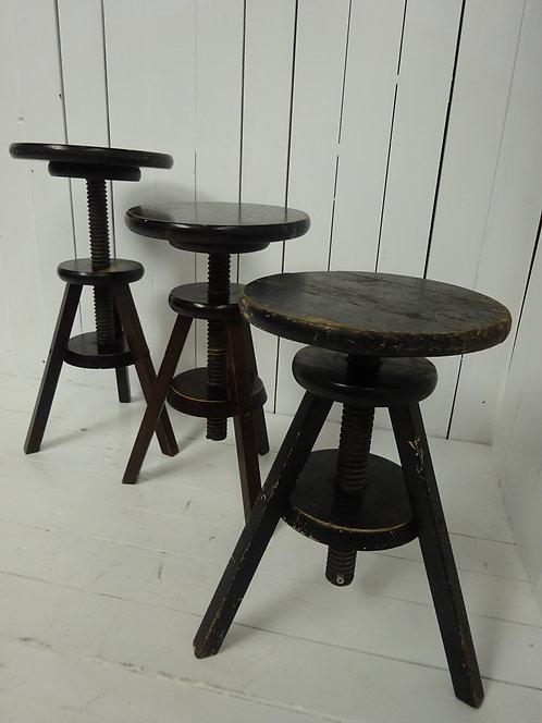 stools, wooden stools, retro wooden stools, adjustable wooden stools, threaded stools, black wooden stools