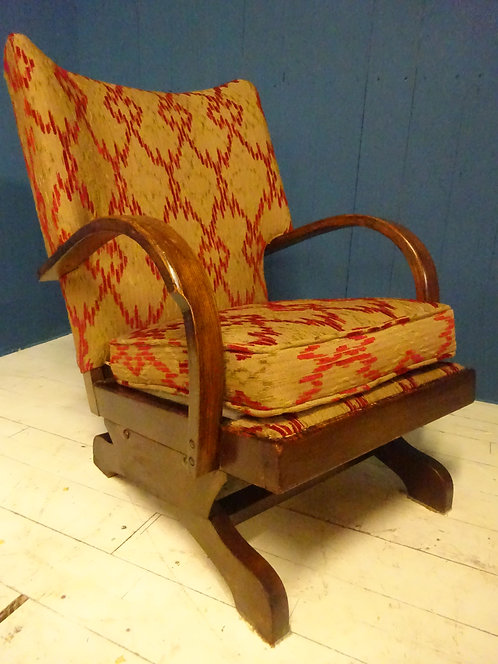 rocking chair, 1950s rocking chair, restored, bentwood, oak, beech, rare chair, fireside, rocking, unique, chenille, red,