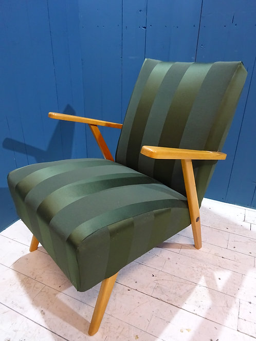 1950's lounge chair, lounge chair in green fabric, green fabric, teak frame, beech frame, rare chair company,