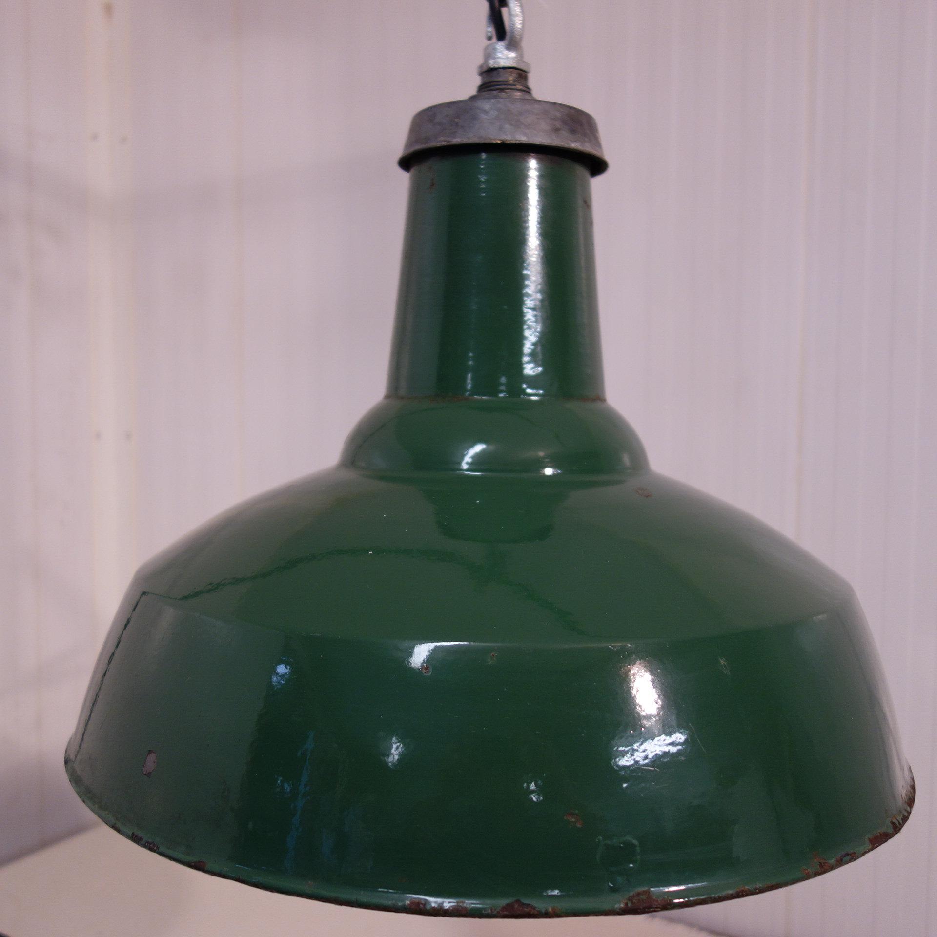 59dd4f7d69f2 1940's Green enamel factory lamp shade