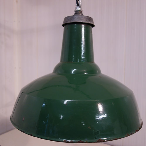 1940's, Green, enamel, factory, lamp, shade,rewired, industrial, cafe refit, shop refit