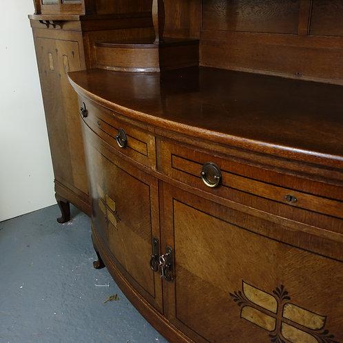 dutch, dutch antique, antique sideboard, oak sideboard, worldwide shipping, cabinet, glass, wood, bow front, handmade, sale