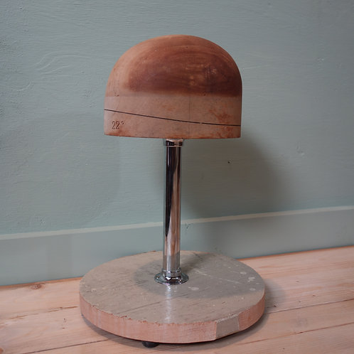 hat stretcher, hat, milner, hat fitting, wood hat, hat stand, 1930's, art deco, cool, mounted hat, old hat, london fashion,