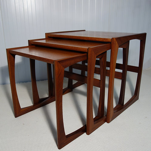 GPlan, nest of tables, 1970s, interior design, room dressing, interior design, teak