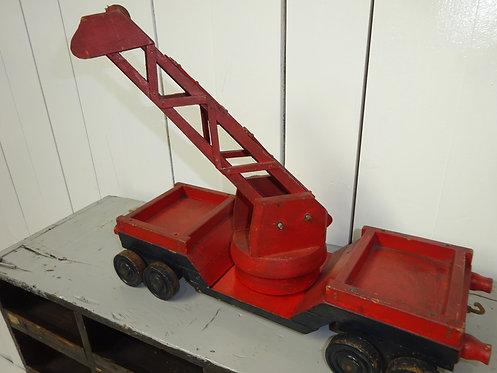 red crane, scratch built crane, wooden crane, hand made red crane, 1940's crane, red hand made crane, old toys,