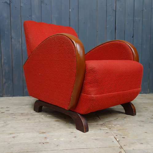 art deco chair, art deco, armchair,matching pair, stunning pair, red fabric, vintage fabric, antique leather, bentarm seating