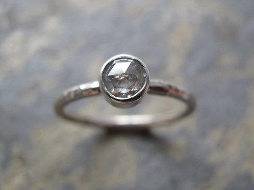 Salt and pepper rose cut diamond ring