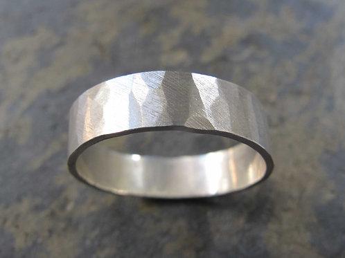 textured silver men's wedding ring