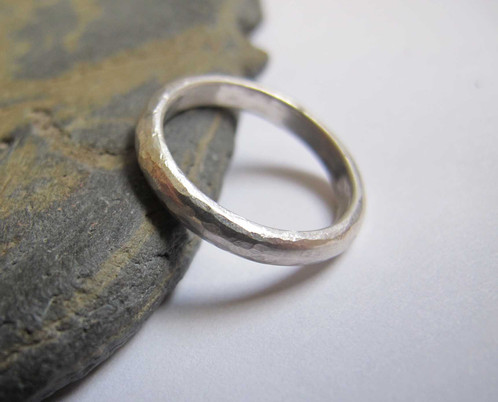 men s hammered d section silver band ring stephens