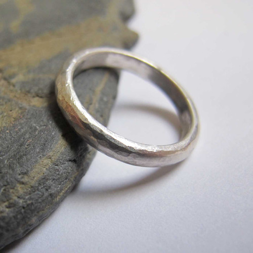 hammered silver wedding band simple handmade wedding ring sterling silver - Handmade Wedding Rings
