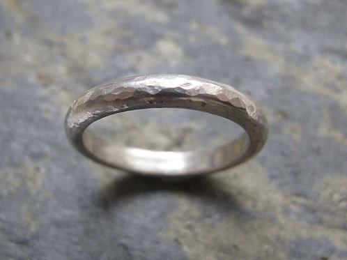 hammered silver wedding band