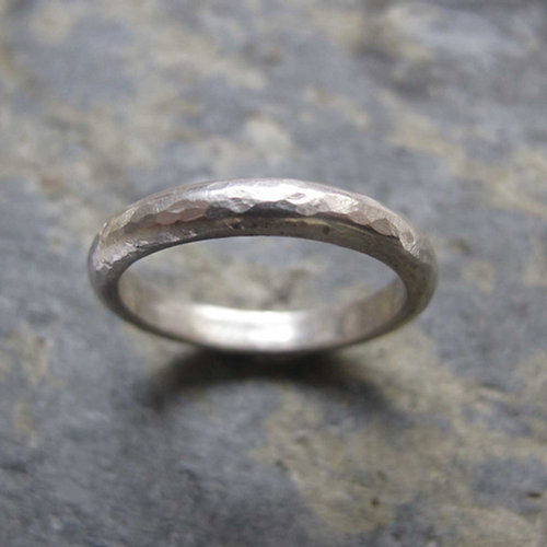 Hammered Silver Wedding Band