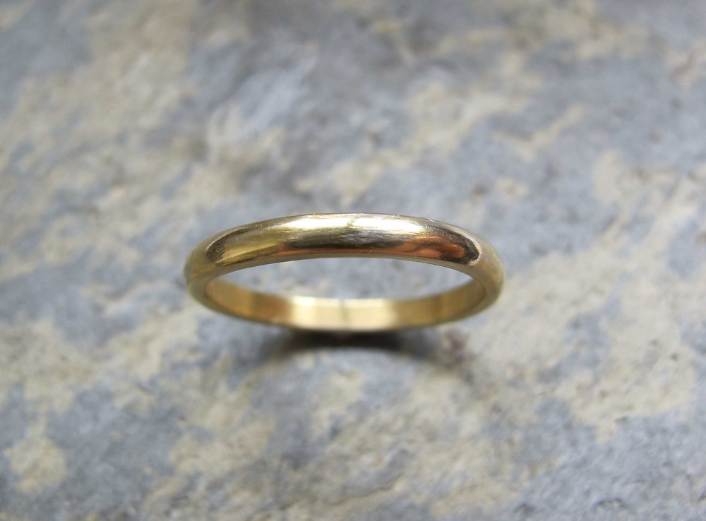 2.3mm wide gold wedding band