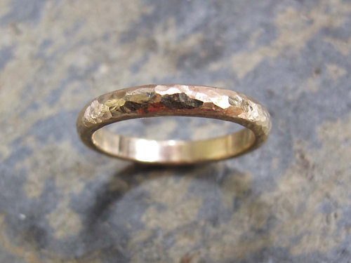 Mens Hammered Gold Wedding Ring