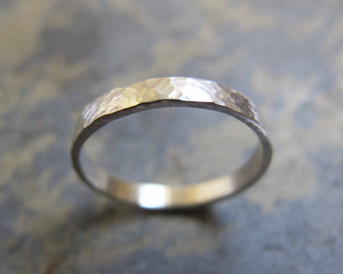 Womens hammered silver wedding ring Heather Stephens Jewellery