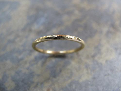Ladies thin hammered gold wedding ring UK