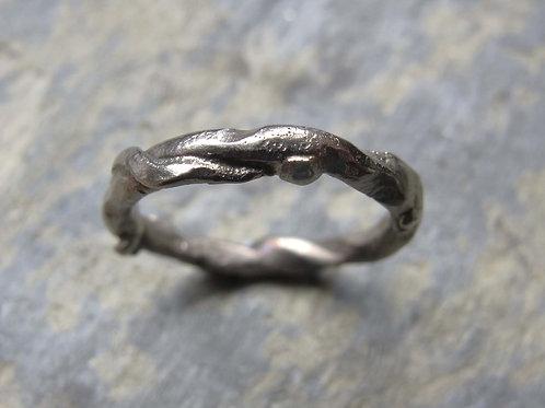 white gold organic wedding ring