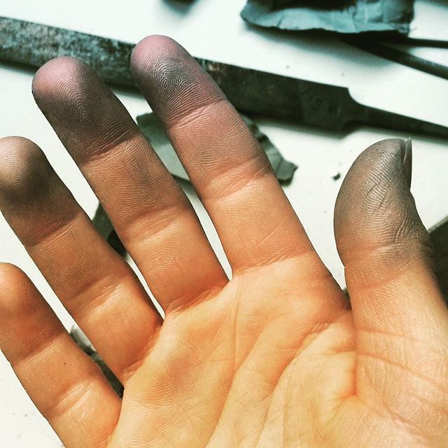 Making silver jewellery means silver hands! 👋__#hands #Jewellery #jewellerytools #JewelleryMaking #handmadejewellery #jewellerybench #artist