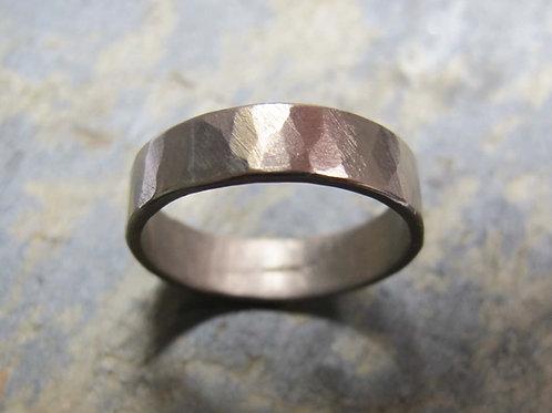 men's handmade white gold wedding ring