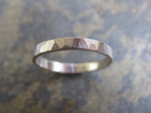 Hammered ladies wedding ring made in the UK