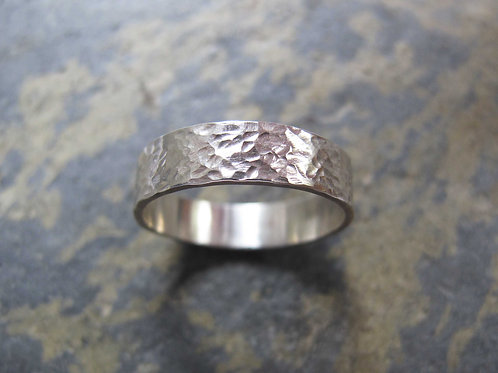 men's hammered sterling silver wedding ring