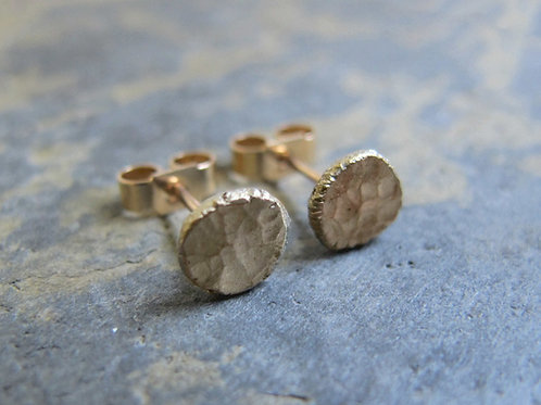 Handmade simple gold stud earrings